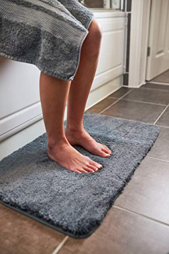 Luxury Grey Bath Mat | Microfiber Non Slip Bath Rug With Super Soft,...