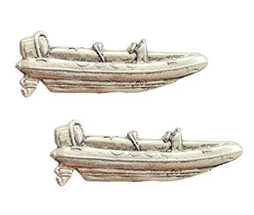 Anstecknadel mit aufblasbarem Boot, handgefertigt, aus englischem Zinn, mit Geschenkbeutel, 59 mm, 2 Stück