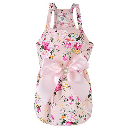 Puppy Dog Halter Dress,Sweetie Bowknot Dog Dress for Small Dogs Cats, Princess Doggie Shirts Girl (Pink XXXS)