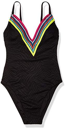 Trina Turk Women's V-Plunge One Piece Swimsuit, Black//Textured Zebra, 10