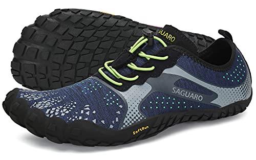SAGUARO Hombre Mujer Barefoot Zapatillas de Trail Running Minimalistas Zapatillas de Deporte Fitness Gimnasio Caminar Zapatos Descalzos para Correr en Montaña Asfalto Escarpines de Agua, Azul, 43 EU