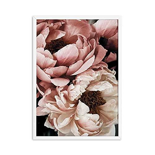 Xofjje Pintar por Numeros_Flor Rosa Simple_Pintura por Números Ciervo de Flor de Color Kits_Cuadro Pintar con Numeros para Adultos/Niños por Números Decoraciones para el Hogar_30x40cm_Sin Marco