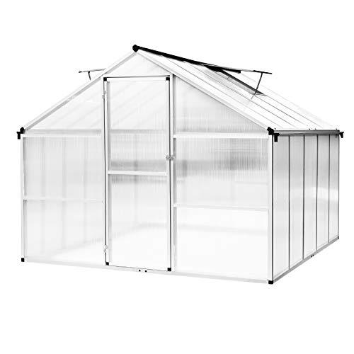 HomeMiYN Aluminium Gewächshaus mit Fenster, Gartenhaus Gewächshäuser Tomatenhaus Treibhaus, L302×B250×H195