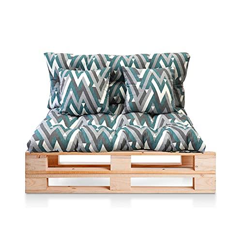 BRAVO HOME - Set di 4 cuscini per divano pallet interni/esterni, seduta 120 x 80 x 10 cm + schienale 120 x 50 x 10 cm + 2 cuscini quadrati – Cuscino comfort per divano pallet Europa (banda)