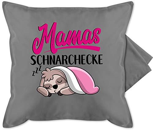 Muttertagsgeschenk Kissen - Mamas Schnarchecke mit Faultier - schwarz - Unisize - Grau - Kissen rot 50x50 - GURLI Kissenhülle - Kissenbezug 50x50 cm und Dekokissen Bezug