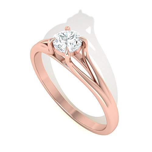 Anillo de boda de oro de moissanita certificado de 0,7 ct IDCL, declaración de Solitario, anillo de fiesta, DEF-VS1 claridad de color, 14K Oro rosa, Size:EU 52