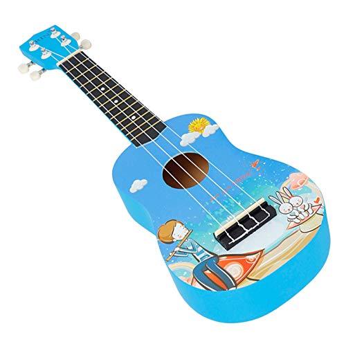 Chengstore Ukulele Spielzeug für Kinder, 21 Zoll blau Naturholz Farbe Ukulele Anfänger, Feel Accurate Tuning Ukulele, Ukulele Gitarre Manschettenknöpfe Geschenk für Ukulele Gitarre Anfänger
