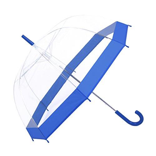 Rainbrace Ombrello Trasparente Automatico, Cupola Fashion con dettagli in colore (blu)