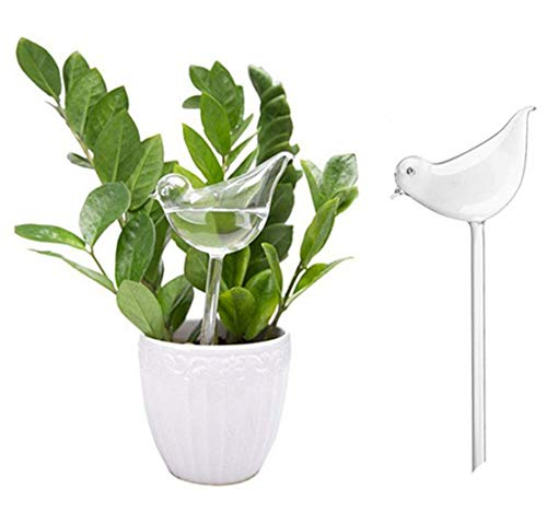 Plant Waterer Self Watering Bulbs, Hand Blown Clear Glass Plant Watering Globes, Bird Shape Self Watering for Indoor and Outdoor Plants (2 Pack)