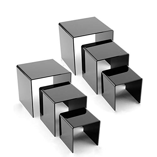 """NIUBEE 2 Set Acrylic Risers Display for Funko POP Figures, Black Cake Stands for Candy Dessert Table Decorations-3""""x4""""x5"""""""