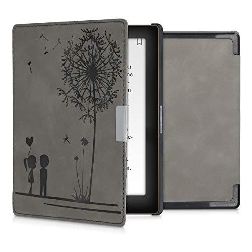 kwmobile Custodia compatibile con Kobo Aura Edition 1 - Cover in simil pelle magnetica Flip Case per eReader grigio