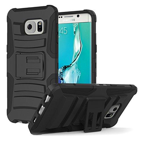 MoKo Samsung S6 Edge+ Plus Case - Holster Cover con Supporto Integrato con Clip e Custodia Protettiva Rigida per Samsung Galaxy S6 Edge + Plus Smartphone 2015, Nero (Non Adatto per S6 Edge)