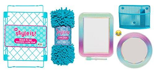 Deluxe School Locker Organizer Kit - Accessories and Decoration Set with Shelf Rug Mirror Message Board and Bin Aqua Ombre
