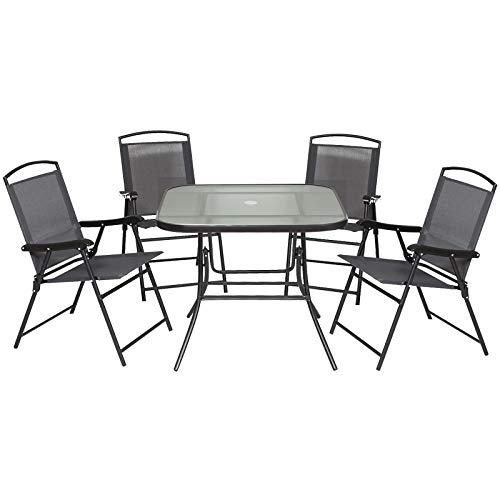 Outdoor Juego de Comedor de Jardín de 5 Piezas Sillas y Mesas Plegables Muebles Exteriores para Terraza con Orificio para Sombrillas 🔥