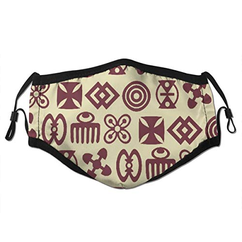 MATEKULI Face Cover Beige Sankofa with Adinkra Symbols Brown African Ancient Love Proverb Africa Balaclava Unisex Reusable Windproof Mouth Bandanas Outdoor Neck Gaiter with 2 Filters