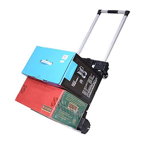 LZQpearl Carretilla Mano Plegable Aluminio, Soporte De Carga De 100 Kg / 220 LB, para Equipaje/Personal/Viajes/Automóvil/Mudanza/Uso De Oficina (Large)