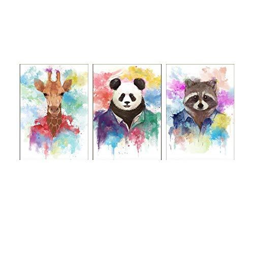 XIANGPEIFBH Panda Raccoon Nordic Simple Animal Portrait Painting Hotel Living Room Decorative Painting Modern Canvas Painting Room Decor 53x73cm-3pcs Frameless