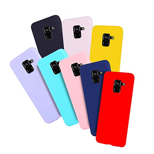 8 x Coque Samsung A8 (2018), Silicone Souple Etui Housse pour Galaxy A8 (2018) RosyHeart Couleur Unie Slim Mince Flexible Etui Soft TPU Anti Choc Housse de Protection Gel Cover(pack8)