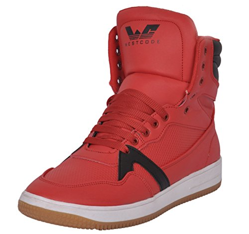 Westcode Mens Boots Synthetic Leather High Top Casual Sneaker Online Shoes 9017 -Red-Black-7
