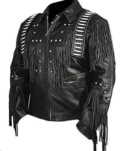 Vipconnection Western Cowboy - Chaqueta de Piel de Ante con Flecos para Hombre - Negro - XL Pecho 112/117 cm
