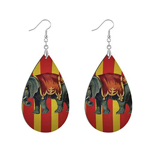 Pendientes colgantes de madera con forma de lágrima, estilo vintage, diseño de elefante, circo, para mujeres y niñas (1 par)
