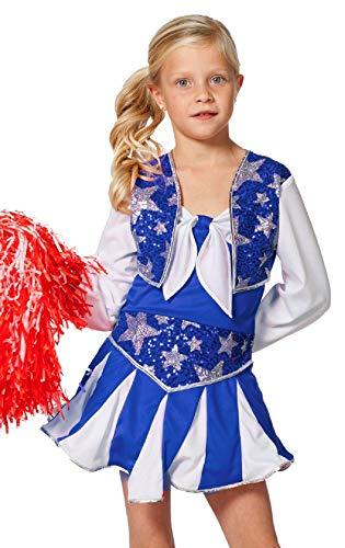 narrenkiste W3182-B-128 blau-weiß Kinder Mädchen Cheerleader Tänzer Trikot Kostüm Gr.128