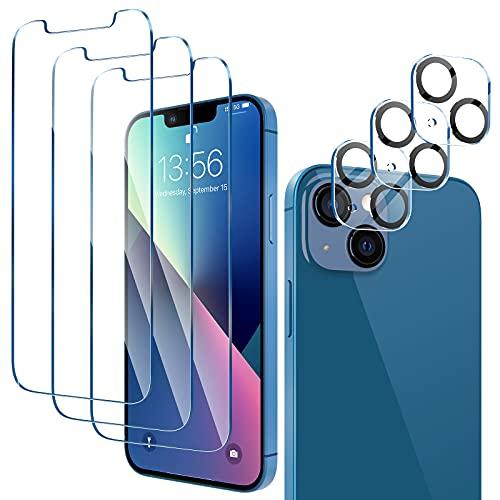LK 6 Pezzi Compatibile con iPhone 13 6.1  Pellicola Protettiva, 3 Pezzi Vetro Temperato e 3 Pezzi Pellicola Fotocamera, Durezza 9H, HD Schermo Pellicola, Con Strumenti di Installazione