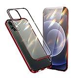 Jonwelsy Funda Compatible con iPhone 12 / iPhone 12 Pro (6,1'), 360 Grados Delantera y Trasera Vidrio Templado Case con Protección Lentes Cámara, Metal Bumper a Prueba de choques Carcasa (Rojo)