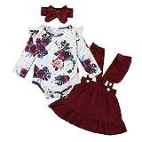 Amissz 3 PCs Bébé Fille Ensemble de Vêtement Robe Tenue Costume Mignon Barboteuse T-Shirt à Floral Manche Longue + Jupe + Bandeau 0-24 Mois (Rouge, 0-3 Mois)