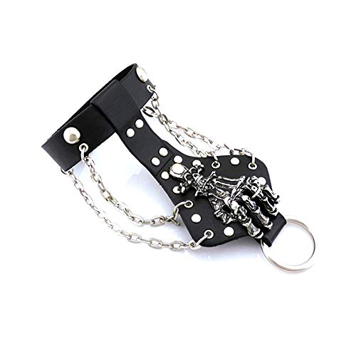 Xusamss Punk Rock Alloy Skull Hand Rivet Chain Cuff Bracelet,7'-8'