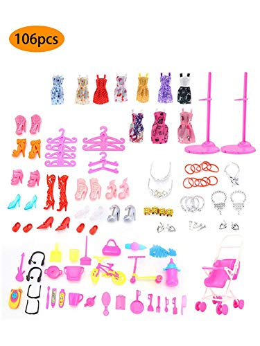 LUCYPAPASHOW Vestidos Barbie, 106 Piezas Accesorios Barbie Ropa De Muñecas De Barbie, Mini Vestidos De Moda, Zapatos, Perchas Y Accesorios De Cocina para Muñecas Barbie Cumpleaños Soporte para Niñas