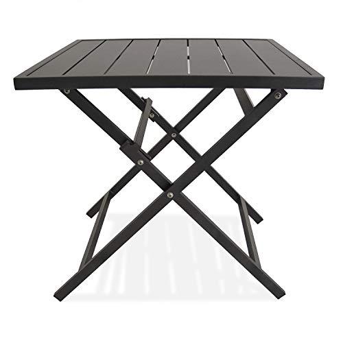 Edenjardi Mesa para Exterior Plegable Cuadrada, Aluminio Color Antracita, Tamaño: 70x70x71 cm