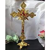 BWYFGRT Reliquias de la Iglesia Estatuillas Crucifijo Jesucristo en el Soporte Cruz de la ...