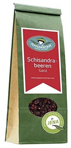 PEPPERMINTMAN Schisandra Beeren ganz – Handverlesene Schisandrabeeren als Snack, wohlschmeckenden Tee oder Zutat für viele Speisen – 60g Papiertüte