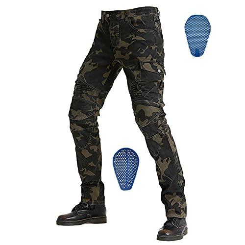 Tmpty Herren Motorradhose Camouflage Cargo Pants mit Silikonschutzausrüstung Reithose (Color : Green, Size : L)