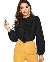 SheIn Women's Long Sleeve Button Down Lotus Ruffled Work Shirt Chiffon Blouse Top X-Large Black
