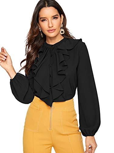 SheIn Women's Long Sleeve Button Down Lotus Ruffled Work Shirt Chiffon Blouse Top Large Black
