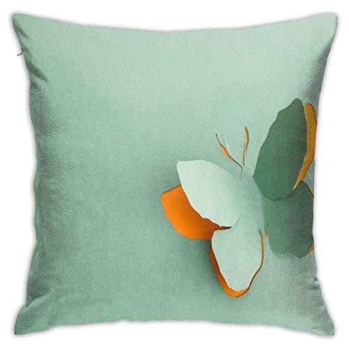NA Funda de Almohada Decorativa de Origami de Mariposa Verde sin Insertos Funda de cojín para sofá en casa Dormitorio Silla de Coche Fiesta en casa Interior Exterior