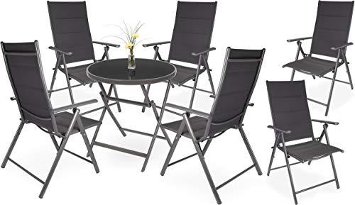 Brubaker Riva - Juego de mesa y sillas de jardín (mesa de cristal, mesa plegable, redonda, 70 cm de diámetro, con 2/4/6 sillas de respaldo alto, resistente a la intemperie)