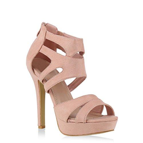 stiefelparadies Damen Pumps Plateausandaletten Stilettos Cut-Outs Schuhe Sandaletten 128721 Rosa 36 Flandell
