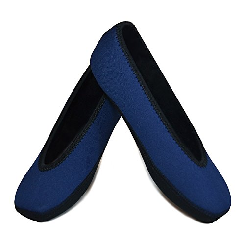 Nufoot Ballet Flats Women s Shoes  Foldable & Flexible Flats  Slipper Socks  Travel Slippers & Exercise Shoes  Dance Shoes  Yoga Socks  House Shoes  Indoor Slippers  Navy  Large