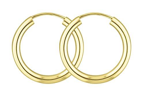 Ohrringe, Creolen, Gelbgold 333 / 8K, Außendurchmesser 20 mm, Breite 2.5 mm, Gewicht ca. 1 g, NEU