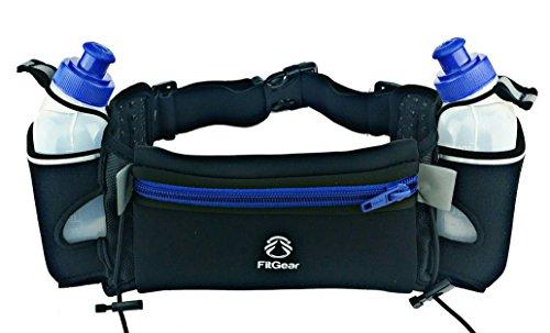 "FIT Gear: Amazing Waterproof Best Neoprene Running Water Belt Includes (2) 10 Ounce BPA Free, Leak Proof Water Bottles, Anti-Slip Snug Fitting 7.0"" Pouch Fits Even All Larger Smartphones"