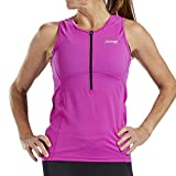 Zoot Women's Core Tri Tank - Performance Triathlon Top with Mesh Panels and 3 Pockets (Razz, Medium)