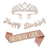 Gitua 3 Stück Geburtstag Dekoration Rose Gold, Geburtstag Schärpe Strass Krone Geburtstag Banner Kit Geburtstag Party Dekoration für Mädchen Frauen