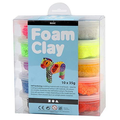 Create Crafts Foam Clay 100263 Air-dried kneading mass for children and adults, 35g weight, sorted, 10 pieces