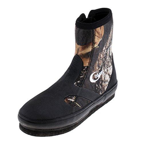 MagiDeal Chaussures De Pêche Anti-dérapant, Chaussures pour Rivière Trekking Protection Caoutchouc, Étanche à l'eau - Camouflage, 9