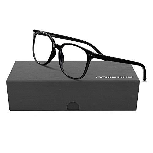 Ramlinku ブルーライトカット メガネ 度なし PCメガネ パソコン用メガネ pcブルー ライト カット メガネ メンズ だてめがね レディース 超軽量 UVカット メガネ 紫外線カット ウェリントン 男女兼用 目の疲れを緩和する