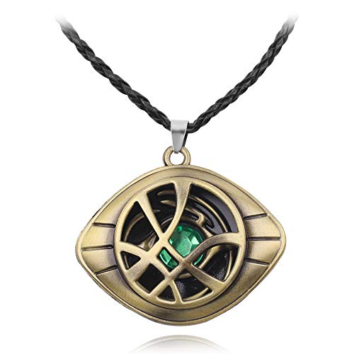 Doctor Strange Necklace - Eye of Agamotto Pendant Necklace with Black Chain Perfect Gifts for Doctor Strange Fans (Antique Bronze)