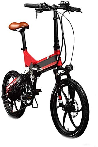 YAOSHUYANG Electric Bike Foldaway City Electric Bike Assisted Electric Sport Mountain Bicycle with 48v 8ah Electric Bicycle with Removable Hidden Lithium Battery Folding 7-Speed (Color : Red)